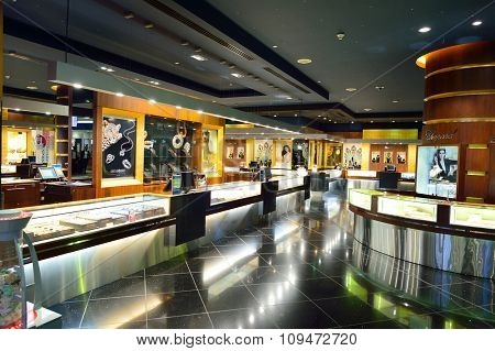 DUBAI, UAE - NOVEMBER 16, 2015: interior of Dubai Duty Free Level. Dubai Duty Free is the largest single airport retail operation in the world