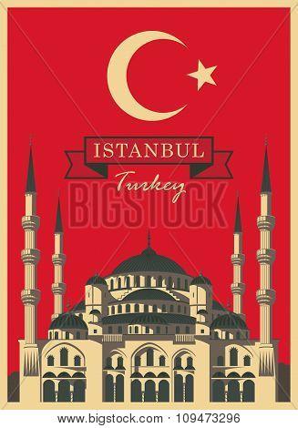 Sophia On The Background Turkish Flag