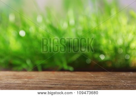 Wooden surface on blurred green grass background