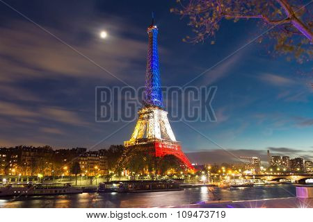 The Eiffel towerin evening.