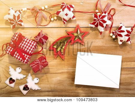 Christmas Wooden Background Wth Decorative Gifts