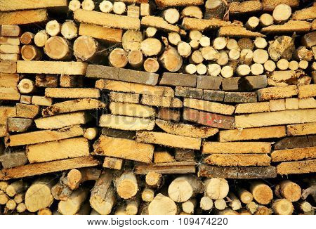 Dry chopped firewood logs ready for winter