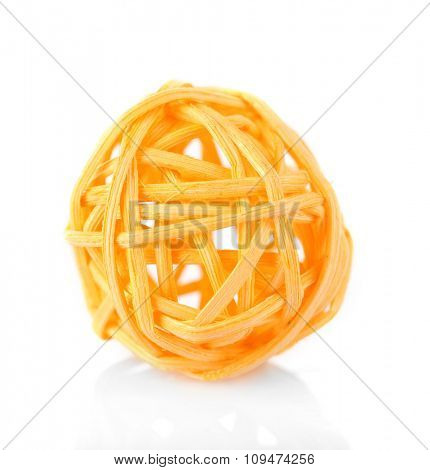 Decorative wicker ball, isolated on white