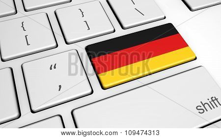 German Flag On Computer Key
