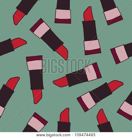 Lipstick seamless pattern vector