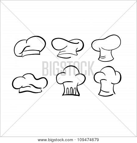 chef hat sketch vector drawing cap white