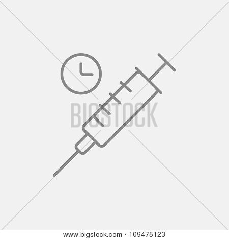 Syringe with clock line icon for web, mobile and infographics. Vector dark grey icon isolated on light grey background.