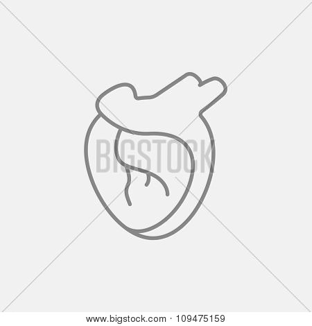 Heart line icon for web, mobile and infographics. Vector dark grey icon isolated on light grey background.