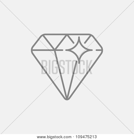 Diamond line icon for web, mobile and infographics. Vector dark grey icon isolated on light grey background.