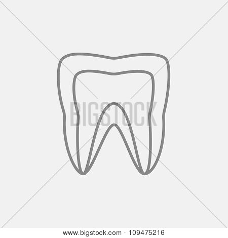 Molar tooth line icon for web, mobile and infographics. Vector dark grey icon isolated on light grey background.