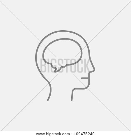 Human head with brain line icon for web, mobile and infographics. Vector dark grey icon isolated on light grey background.