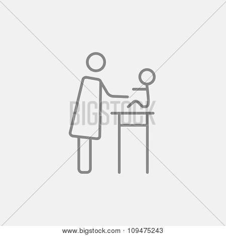 Woman taking care of the baby line icon for web, mobile and infographics. Vector dark grey icon isolated on light grey background.