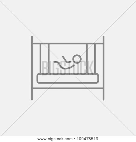 Baby laying in the crib line icon for web, mobile and infographics. Vector dark grey icon isolated on light grey background.