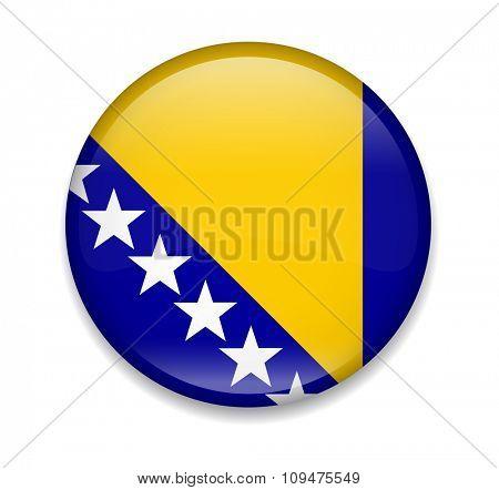 Bosnia and Herzegovina Button Flag