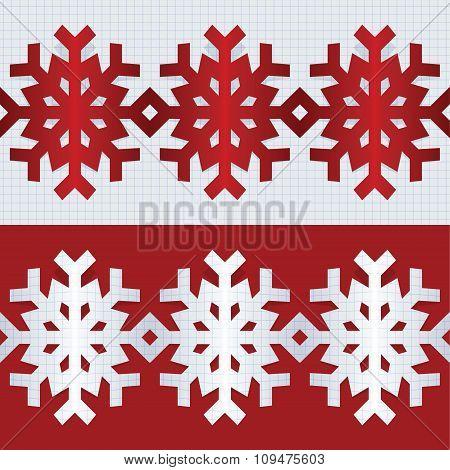Snowflake Flat Border Line. Vector Illustration.