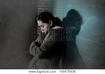Sad Woman Alone Leaning On Street Window At Night Suffering Dep
