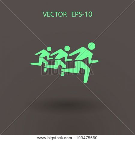 Flat icon of running men