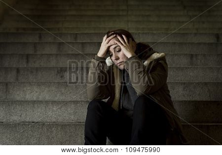 Sad Woman Alone On Street Subway Staircase Suffering Depression Looking Looking Sick And Helpless