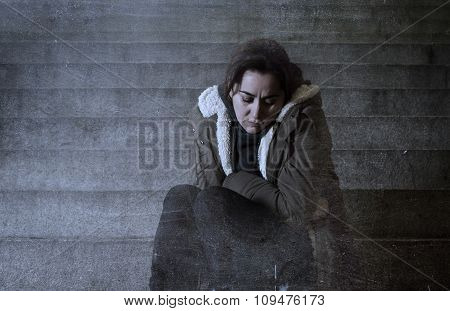 Sad Woman Alone On Street Subway Staircase Suffering Depression