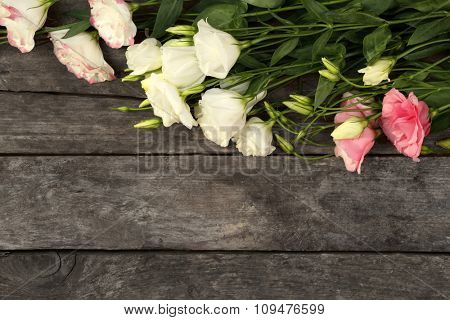 Beautiful eustoma on wooden background