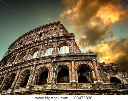 Colosseum in Rome with sky in the background