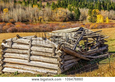 Dilapidated Log House