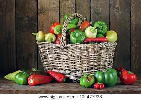 Vegetables In A Basket. Pepper.