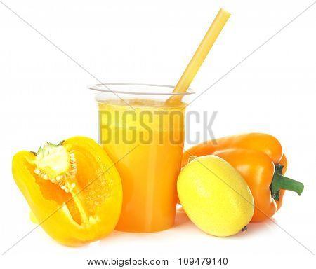 Fresh vegetable juice isolated on white