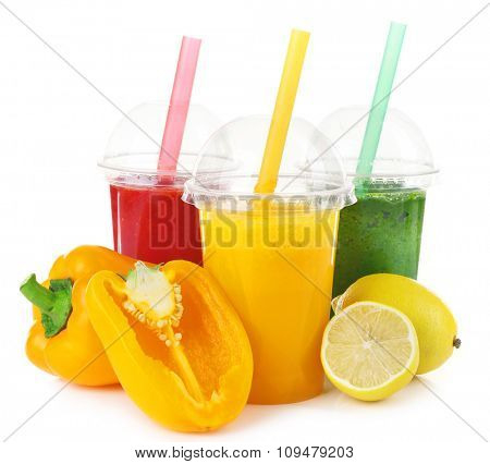 Fresh juice mix fruit, healthy drinks isolated on white