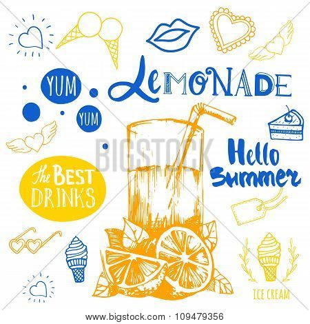 Summer poster with yellow and blue sketch of lemonade.