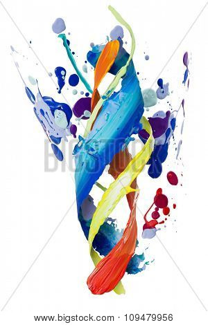 Twisted smear of paint colorful spatters isolated on the white background