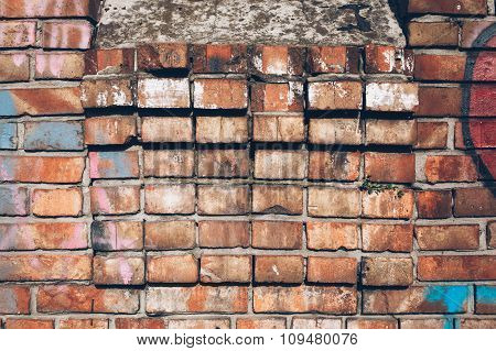Background of colorful brick wall texture. brickwork