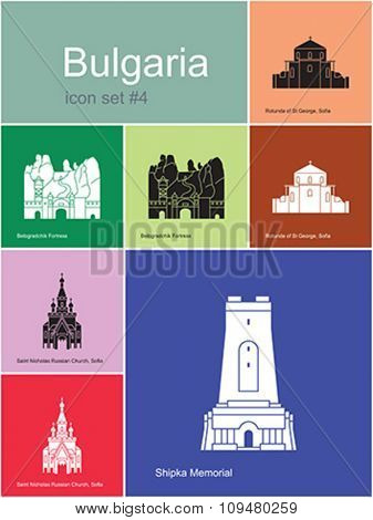 Landmarks of Bulgaria. Set of color icons in Metro style. Editable vector illustration.