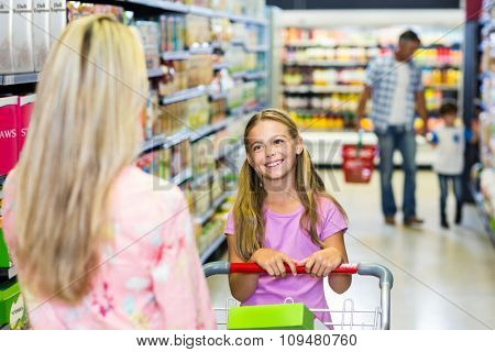 Family shopping together in the supermarket