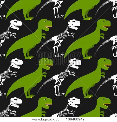 Dinosaur Skeleton And Seamless Pattern. Green Prehistoric Monster With A Skull And Crossbones. Textu