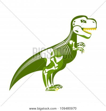 Dinosaur Skeleton. Bone Up On My Body. T-rex And Skull. Tyrannosaurus Prehistoric Monster Predator R