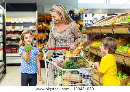Young mother with her two children at supermarket