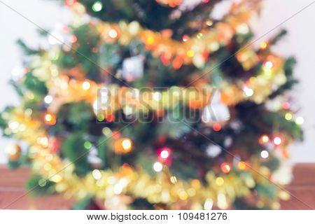 Blur Light Celebration On Christmas Tree, Vintage Tone Background