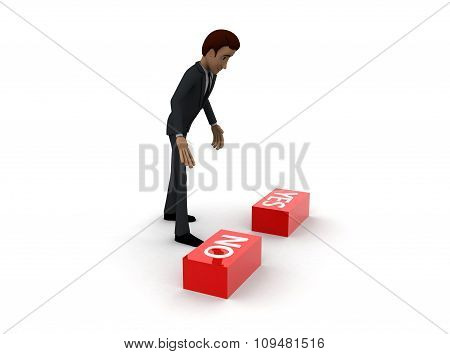 3D Man Choose Red No Button From No And Yes Button Concept