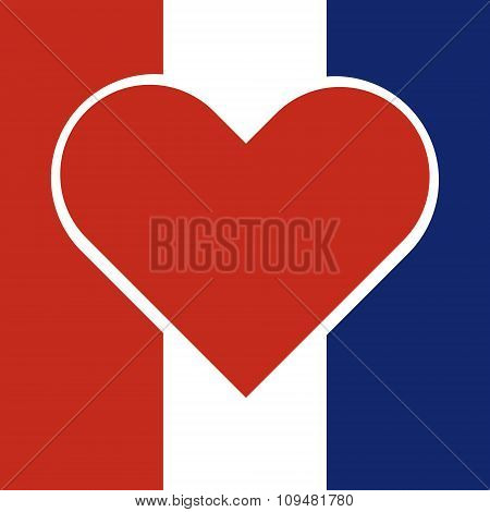 Red Hart Inside A National Flag Of France With Pray For France Concept. Vector Illustration Design.