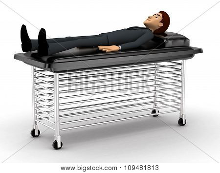 3D Man Sleeping And Resting On Stretcher Concept