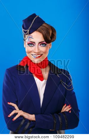 Stewardess With Face Art Meets Passengers.
