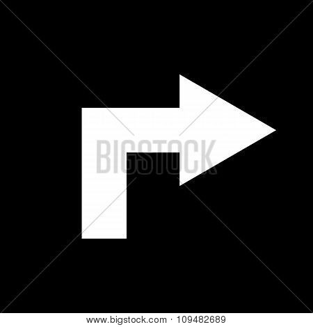 The right icon. Direction and arrow, navigation symbol. Flat