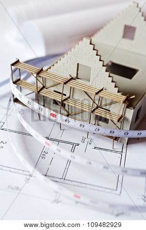 New Model House On Architecture Blueprint Plan At Desk