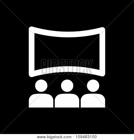 The movie house icon. Theater and show, cinema, presentation  symbol. Flat