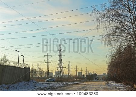 The Electrical Transmission Line Near The Residential Area