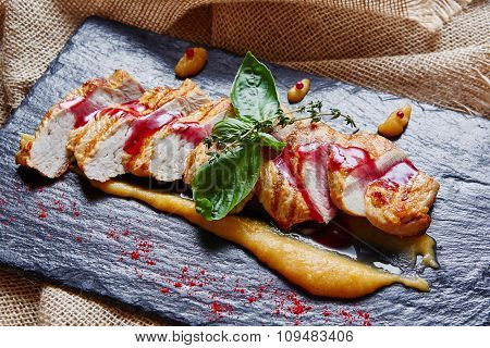 Grilled chicken breast with polenta