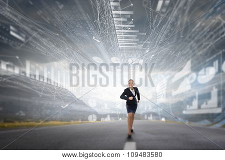 Young determined businesswoman competitor ready to run