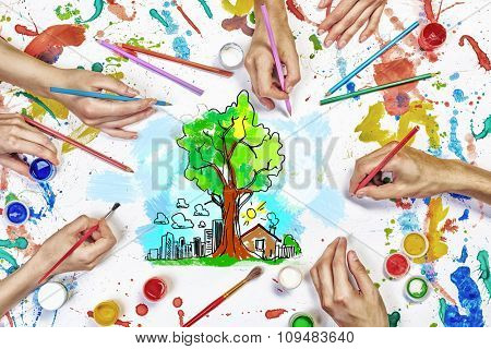 Top view of hands drawing eco green life concept