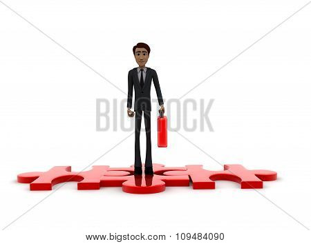 3D Man Holding Briefcase And Standing On Puzzle Pieces Concept